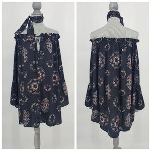 SABO SKIRT Boho Off Shoulder Bell Sleeve Dress